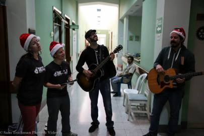 Singing Christmas carols in Hospitalito Atitlán.