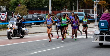 Women's lead pack at mile 18 of the 2015 NYC Marathon